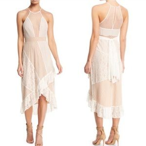 Likely White and Tan Nude Lace Dress